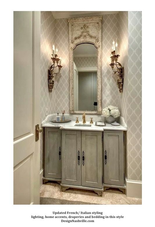 Vanity White Grey French Italian Style French Country Decorating Bathroom Country Bathroom Decor Country Bathroom