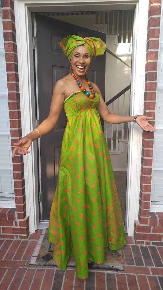 African print dress / African print maxi dress / African clothing / Ankara dress / African dress / African fashion / Maternity dress /Green