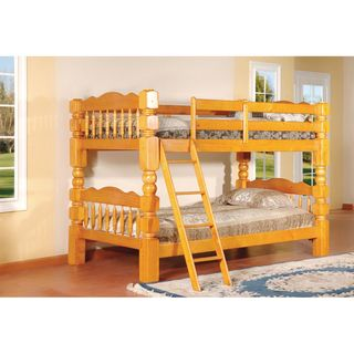 Carved Spindle Honey Oak Finish Bunk Bed K And B Furniture Co