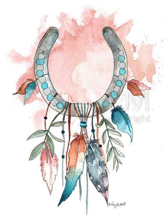 Horseshoe Dream Catcher Print, Dream Catcher Art, Native