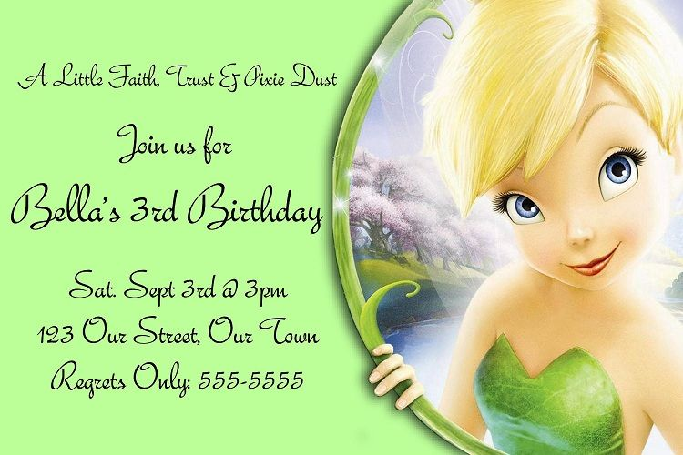 Green Birthday Invitation Card Tinkerbell Invitation Card