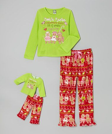 Take a look at this Lime Gingerbread Pajama Set & Doll Outfit - Girls by Dollie & Me on #zulily today!