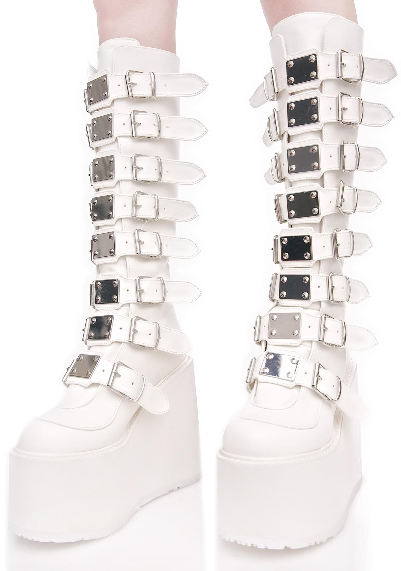 Demonia boots, White knee high boots