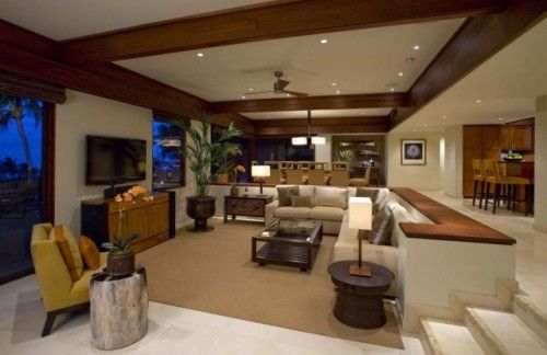 I don't care what anyone says, I love a good sunken living room, preferably with a fireplace. Cozy all over :)