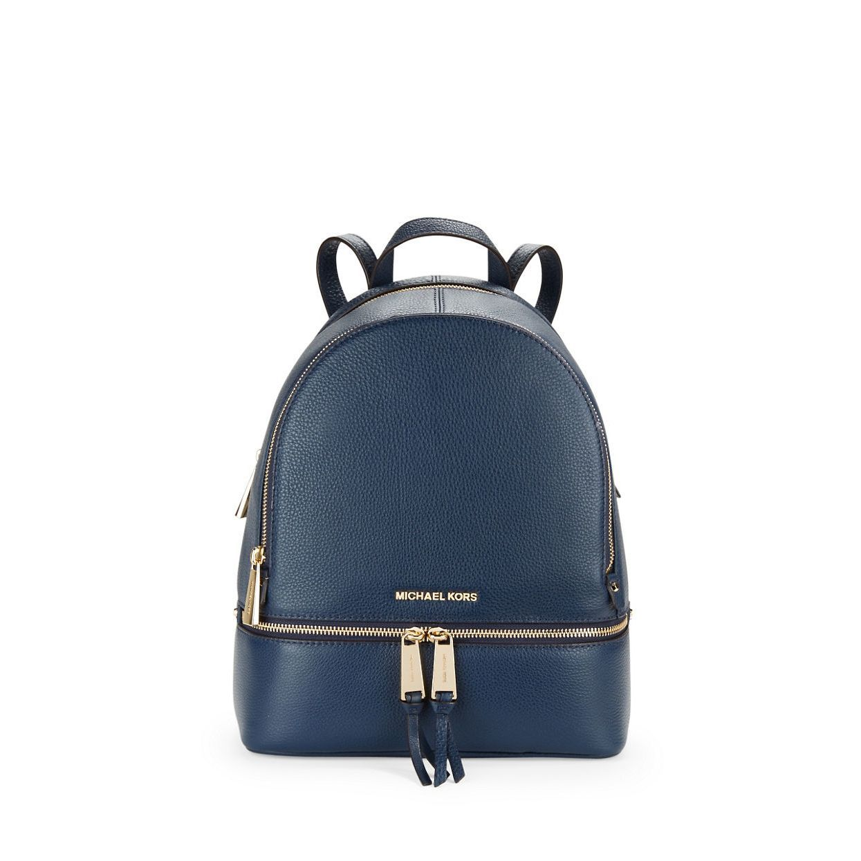 00d382dd8b Michael Kors Rhea Blue Leather Zip Admiral Small Fashion Backpack ...