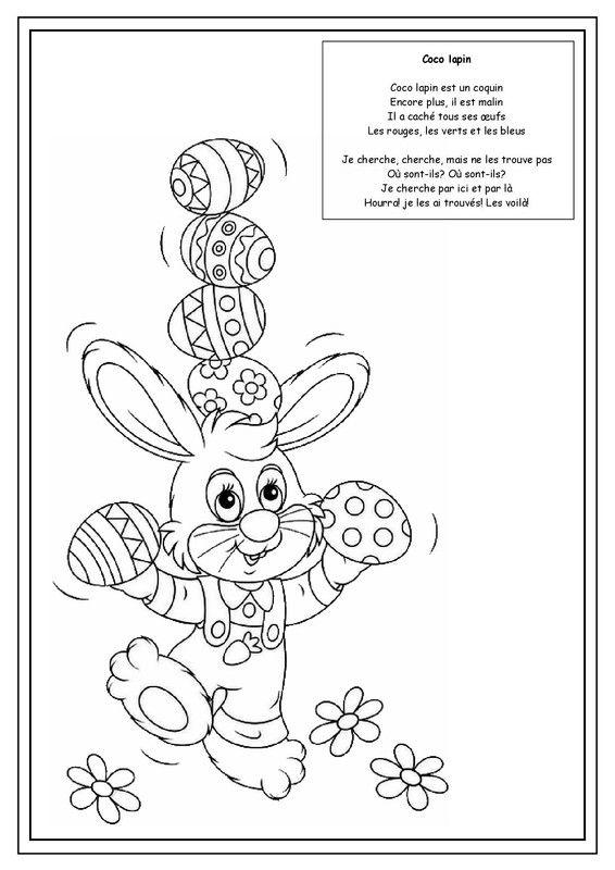 Coloriage De Paques Cycle 2.Coco Lapin Enfants Theme Paques Coloriage Paques Coloriage Et