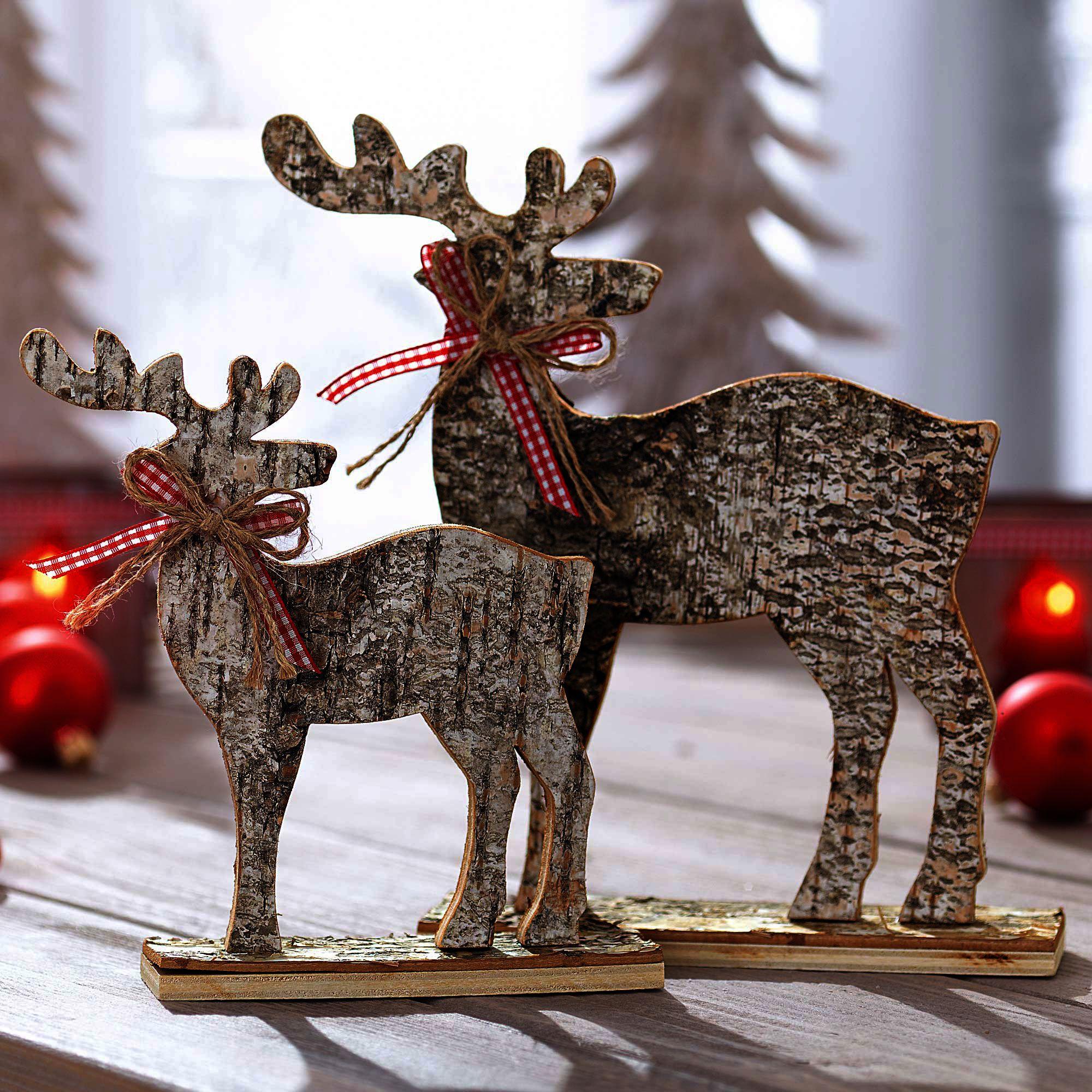 Elche aus birke dekoration selbstgemacht diy holzdeko for Weihnachtsideen dekoration