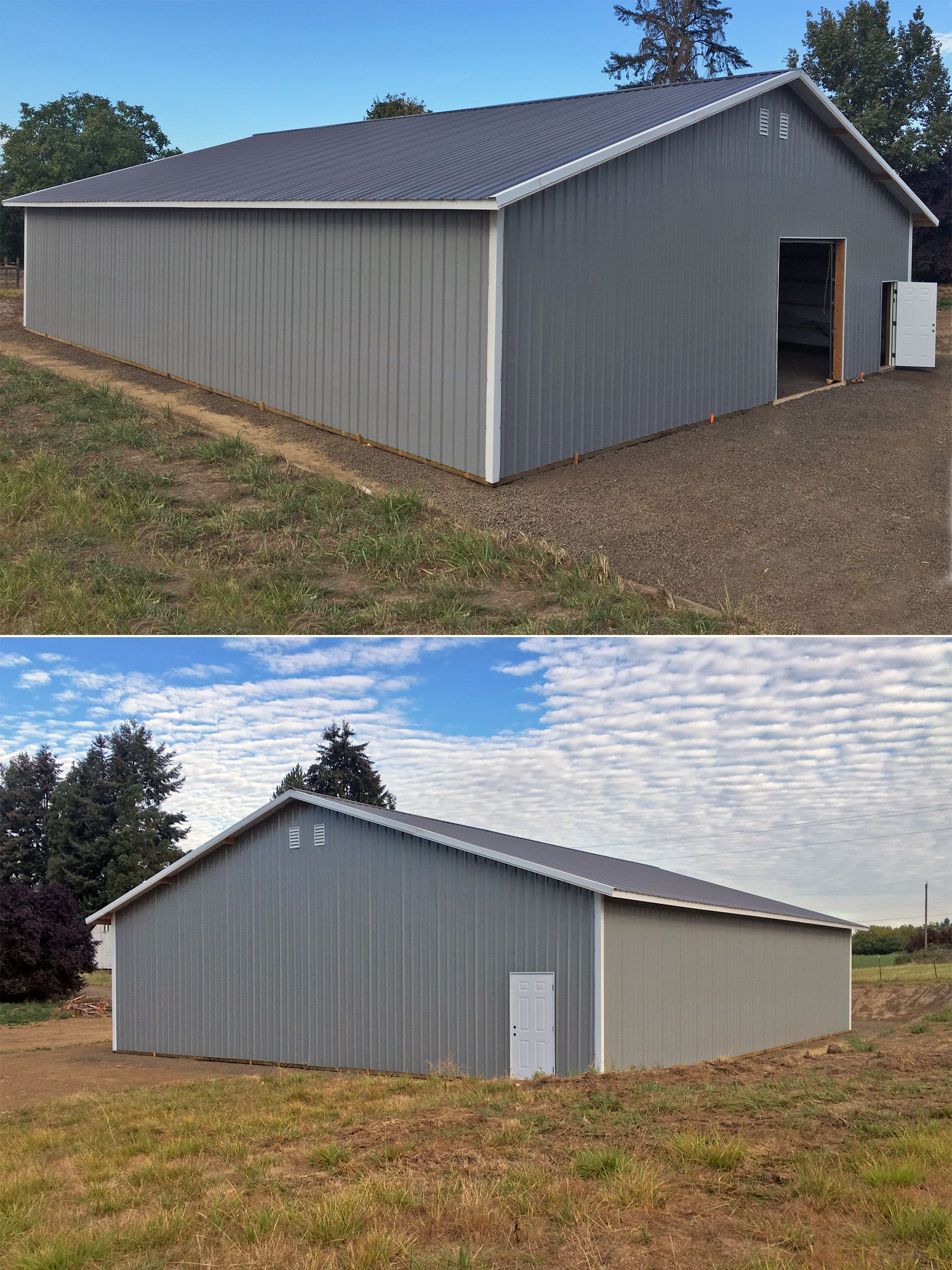 48 X 60 12 Agricultural Building With Overhead Door Walk In Door Gable Vents And Overhang Agricultural Buildings Pole Barn Construction Pole Buildings