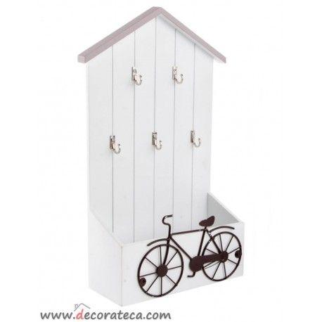 Bonito cuelga llaves bici blanco y gris con estante de almacenaje y 5 colgadores de llaves www - Reposapies con almacenaje ...