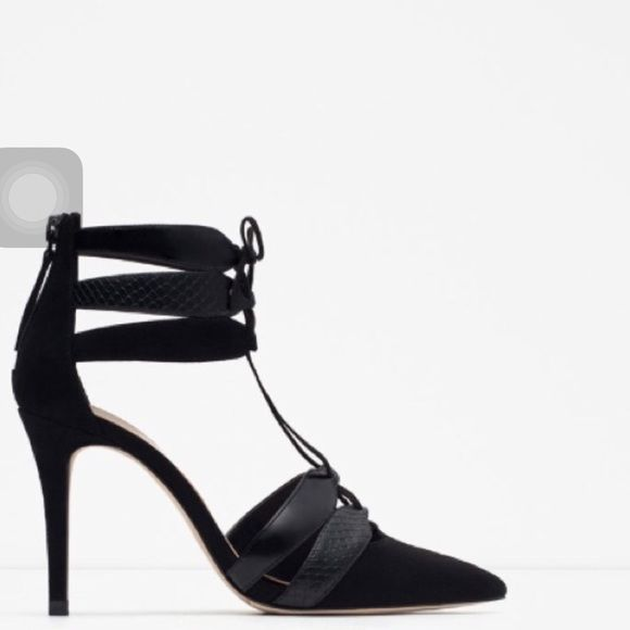 NWT ZARA COMBINED LEATHER HIGH HEEL WSTRAP SIZE 6 BLACK