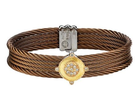 Check out this beautiful ALOR  18 karat Petra Gold and Bronze stainless steel 2 row bracelet with diamond accents!!