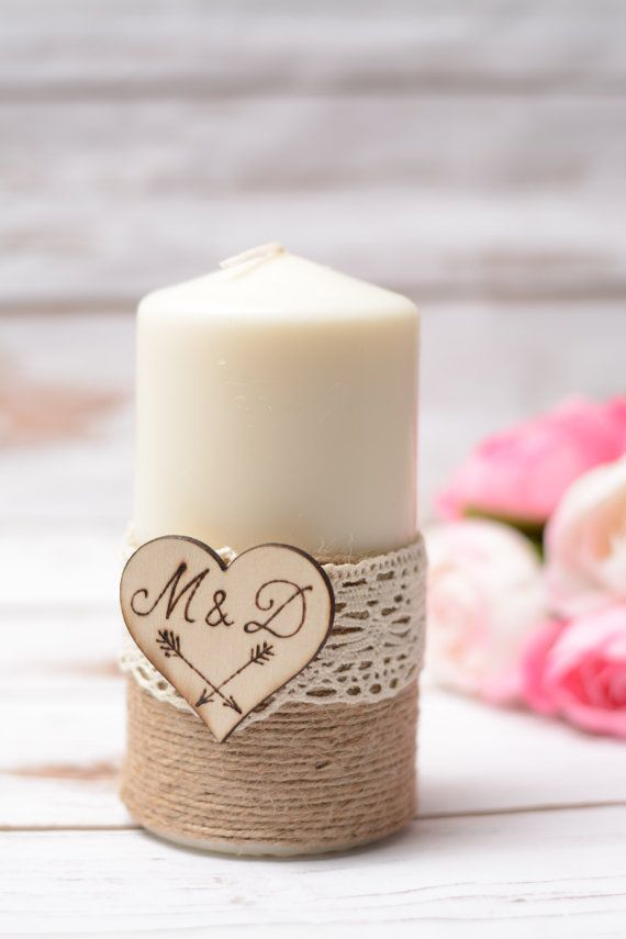 wedding candle personalized rustic unity candle vintage