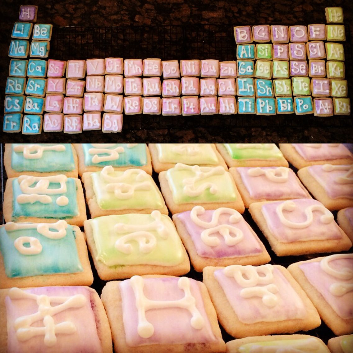 For my daughters 8th birthday i made this watercolor periodic for my daughters birthday i made this watercolor periodic table out of bite sized sugar cookies gamestrikefo Image collections