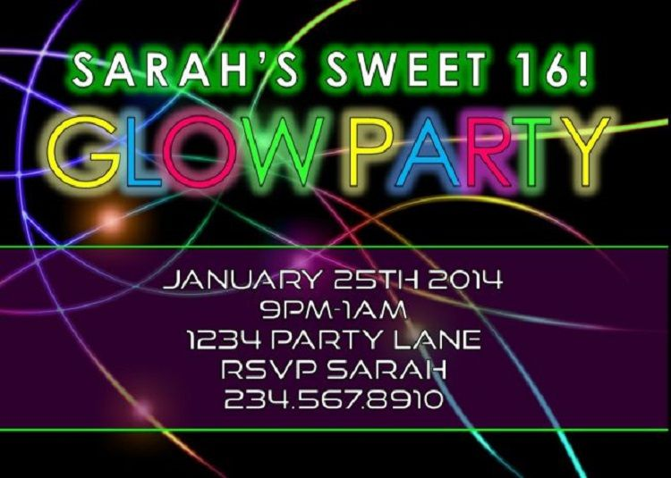 pin by ryan a brockett on invitation card pinterest glow party