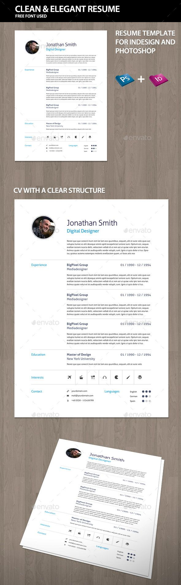 Elegant curriculum vitae cv resume unique resume simple resume elegant curriculum vitae cv resume by offi download includestemplate for indesign and photoshop organized layers yelopaper Images