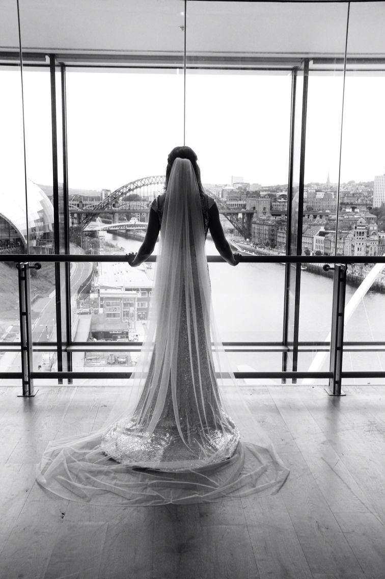 Bride. Wedding. Gold Dress. Cathedral Veil. Black and white ...