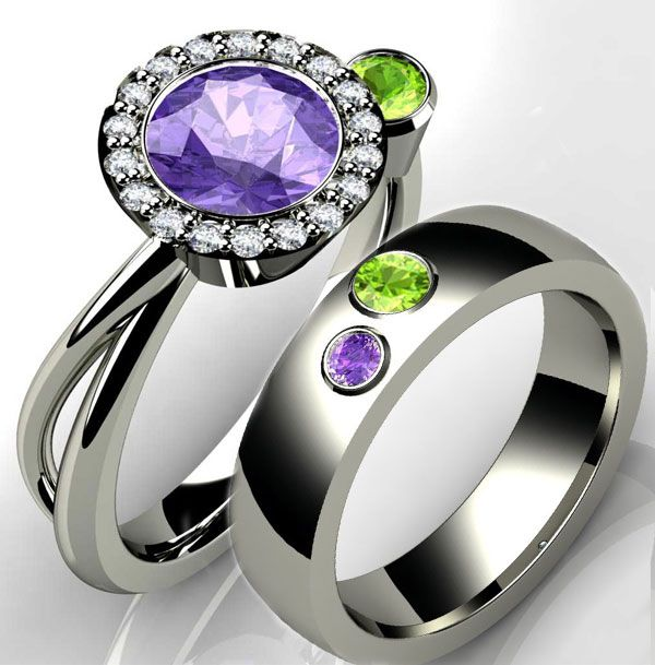 Birthstone Engagement Rings Heavenly Halo Ring And Wedding Bands