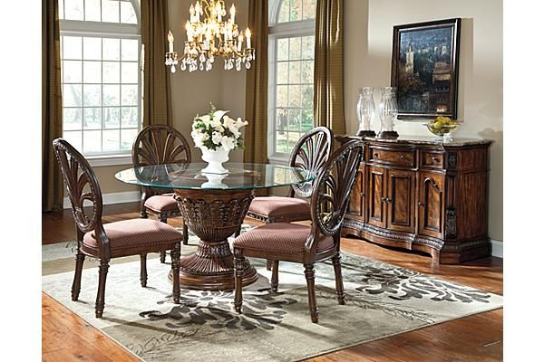 The Ledelle Dining Table From Ashley Furniture Homestore Afhs Com With The Rich Old Round Dining Table Sets Round Dining Room Sets Glass Round Dining Table Dining table set for sale