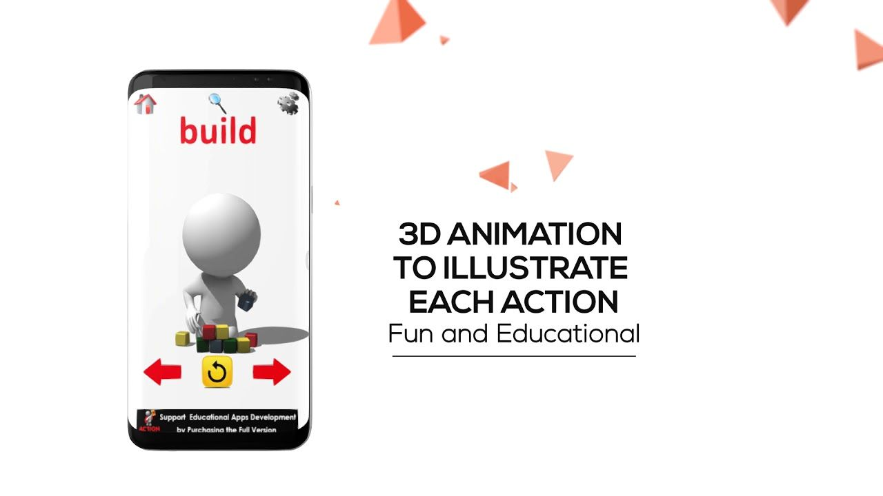 Kids app 3d animated flash cards that bring action words