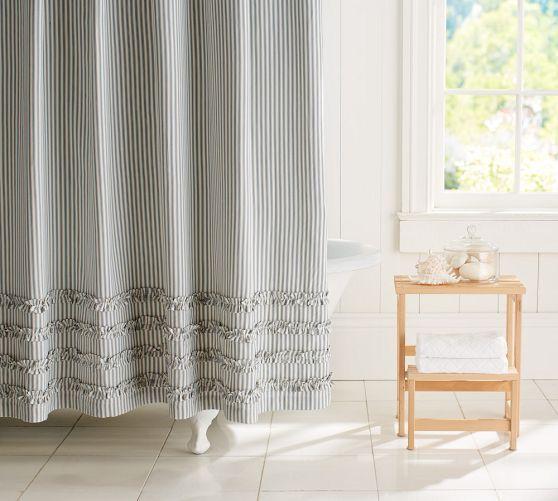 Ruffled Ticking Stripe Shower Curtain Black Almond