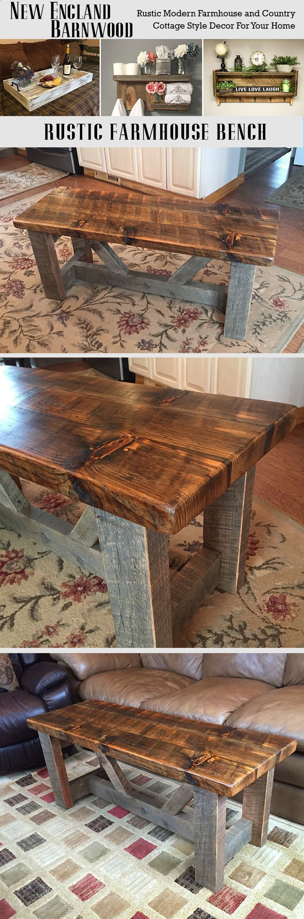 Plans Of Woodworking Diy Projects  Beautifully Rustic Farmhouse Bench