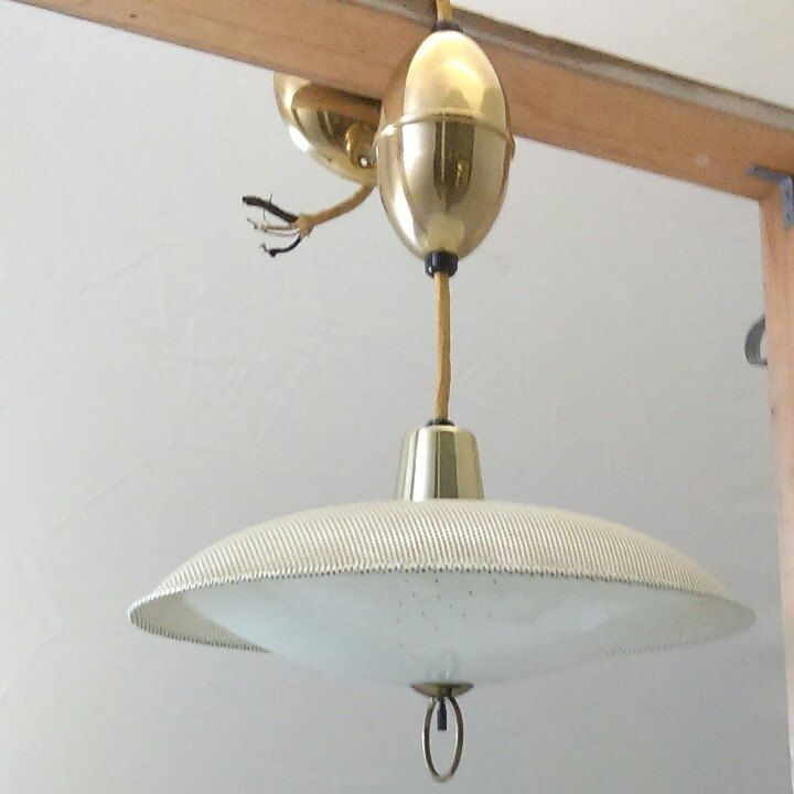 Mid Century Pull Down Flying Saucer Light Now Available With Images Mid Century Light Fixtures Glass Lamp Shade Light Fixtures