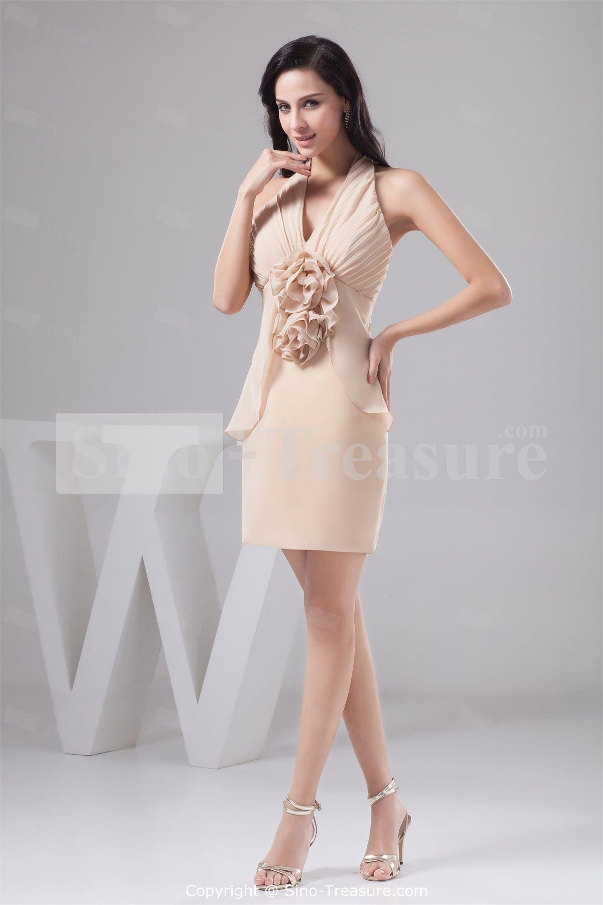 Light Champagne Summer Short/ Mini Sheath/ Column Chiffon Halter Bridesmaid Dresses