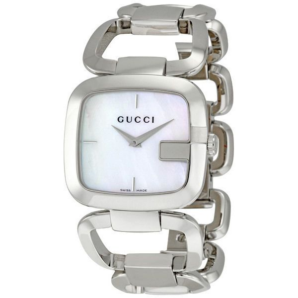 59cd66debca Gucci G Gucci Mother of Pearl Dial Stainless Steel Ladies Watch YA125404   Gucci  Dress