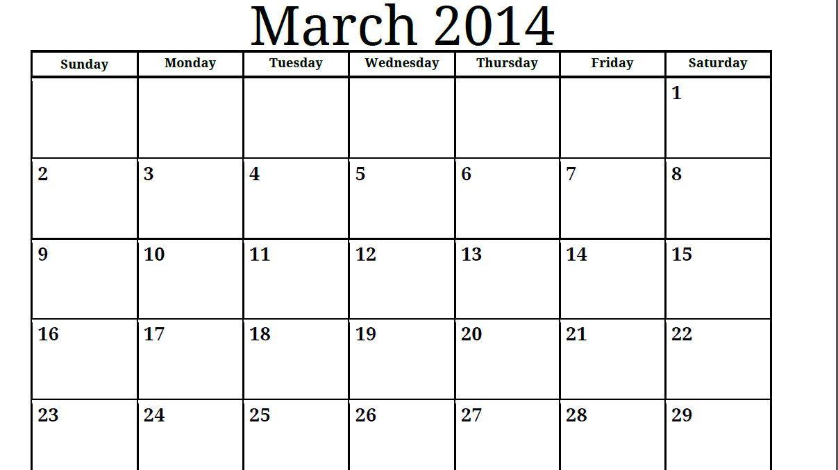 Blank Monthly Calendar Template Pdf : Print free calendar printable blank pdf march