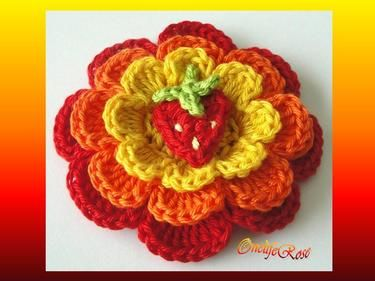 Crochet Flower with small Strawberry