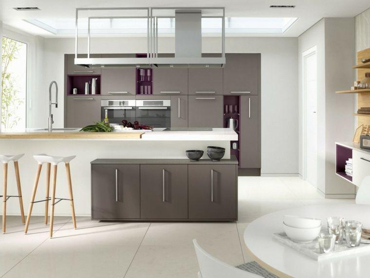 Esempio di arredamento cucina moderna bianca e grigia con isola e
