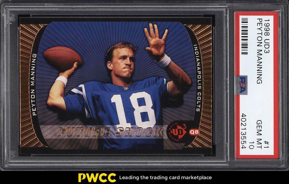 1998 ud3 football peyton manning rookie rc 1 psa 10 gem