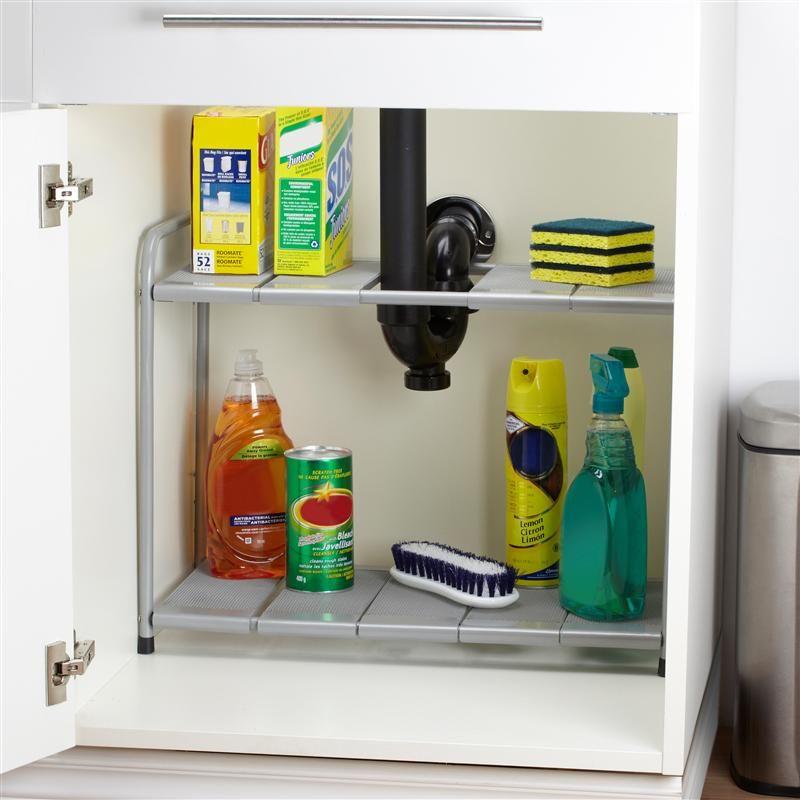 "Ksp Space Logic Expandable Under Sink Shelf 27"" X 11.5"" X 15"" H Grey   Kitchen Stuff Plus #KSPPin2Win"
