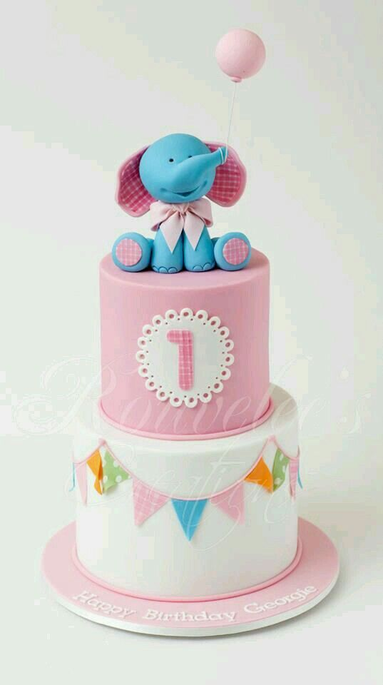 Cute Elephant Theme First Birthday Cake Pinterest 1st Birthday