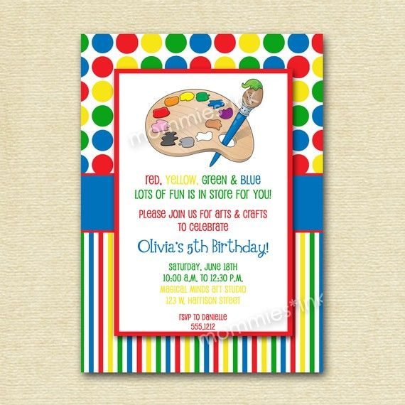 Arts And Crafts Birthday Party Invitation PRINTABLE By MommiesInk 1200