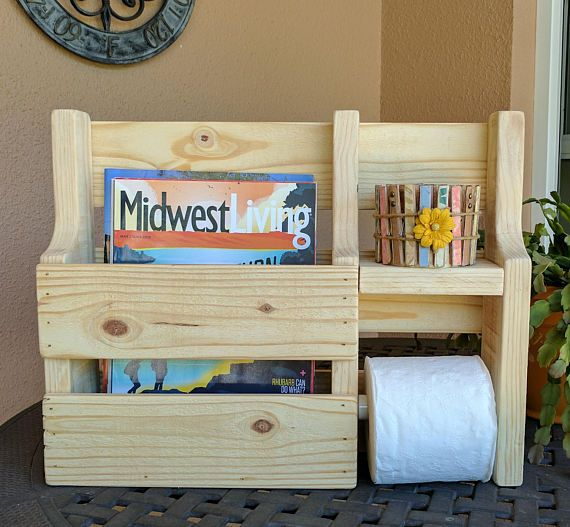 Rustic Magazine Rack Toilet Paper Holder Made From Reclaimed And Repurposed Pallet Wood Rustic Magazine Racks Repurposed Pallet Wood Diy Holder