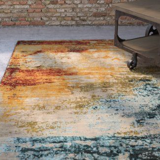 Trent Austin Design Modrest Abstract Blue/Red Area Rug