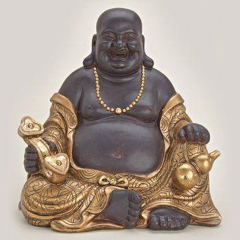 Happy Buddha Sitzend Aus Polystein Braun Und Gold Ca 30 Cm Gross Statue Figur Monch Lachend Glucksbuddha Budai Mit Sitar Und Almosentopf Online Kaufen Bei Woo Buddha Statue Figur