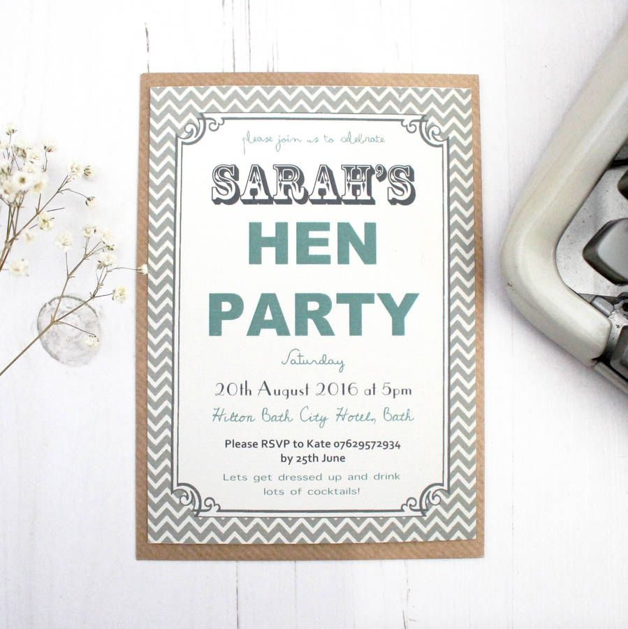 Personalised Grey \'Hen Party\' Invitations | Hens party invitations ...