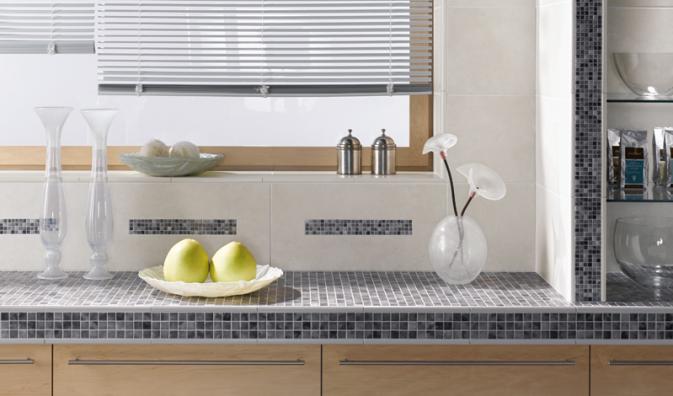 geflieste arbeitsplatte k che pinterest arbeitsplatte fliesen und au enbereich. Black Bedroom Furniture Sets. Home Design Ideas