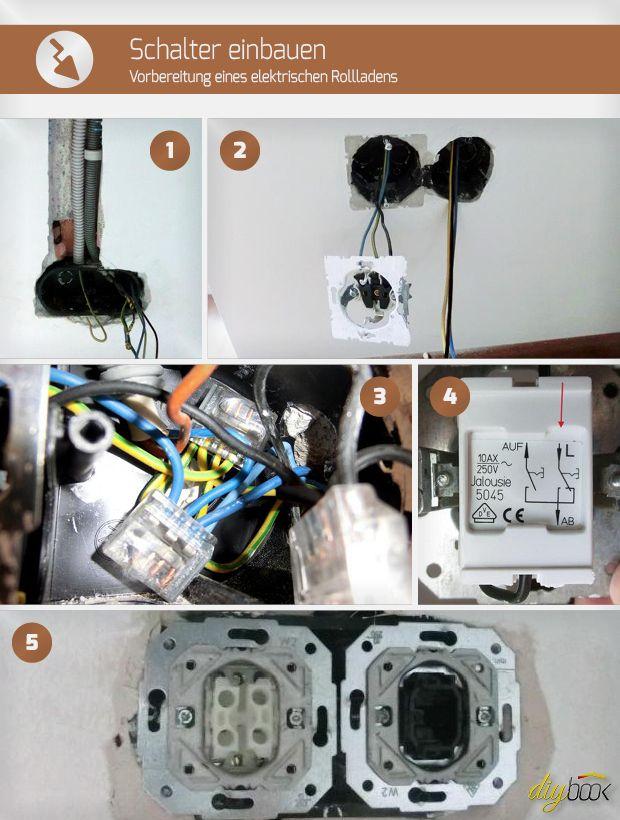schalter einbauen vorbereitung eines elektrischen rollladens elektro verlegen pinterest. Black Bedroom Furniture Sets. Home Design Ideas