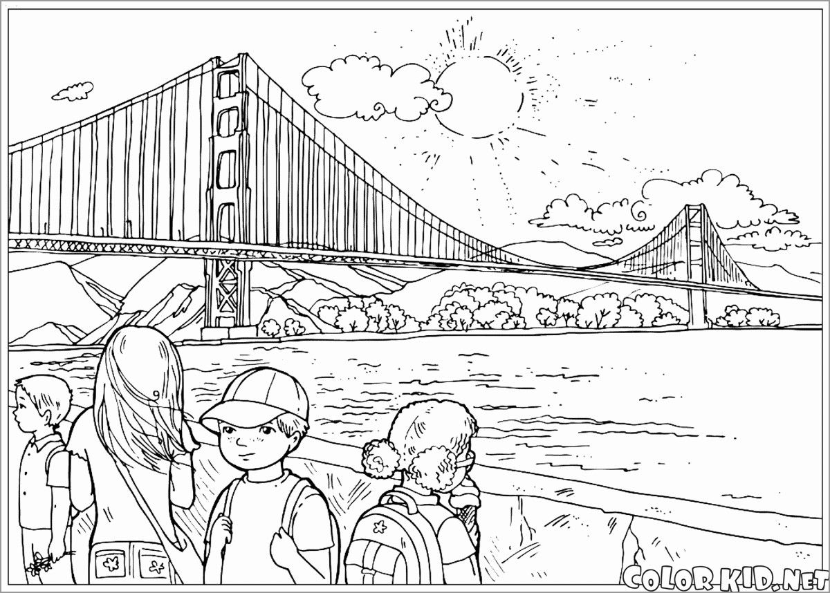 Golden Gate Bridge Coloring Page Coloring Pages Adult Coloring