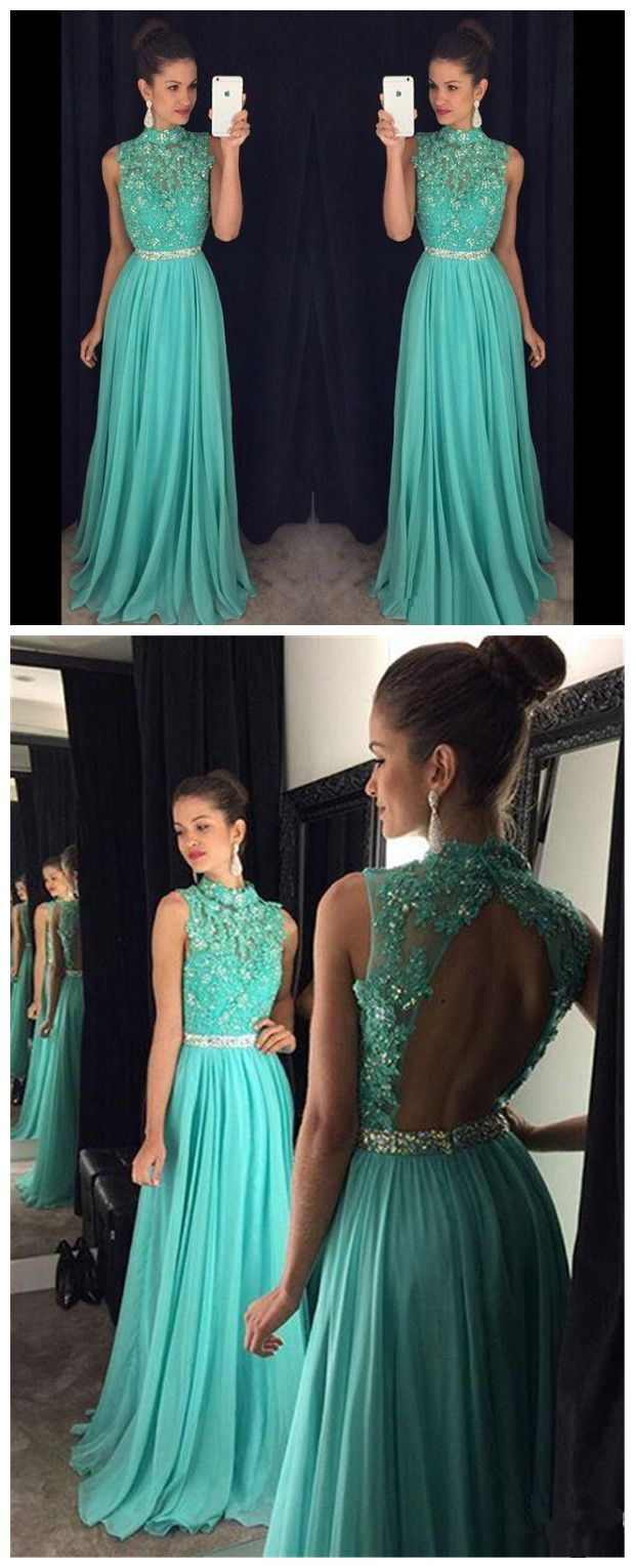 Lace Bodice Long Prom dress with open back,2017 senior prom gowns ...