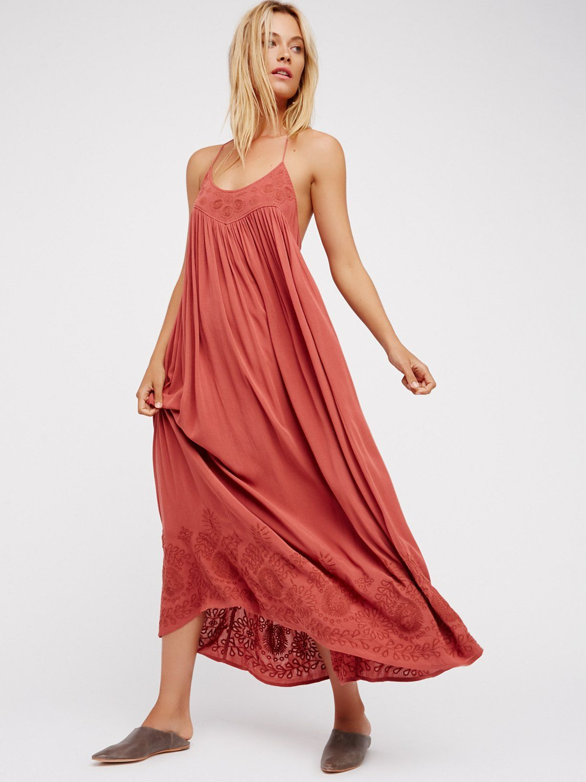 Embroidered Elaine Maxi Slip Embroidered maxi slip dress with