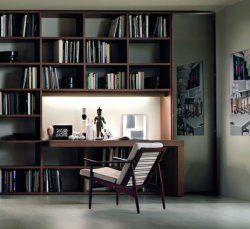 libreria con scrivania | 书房 | Bookshelves, House design, Desk