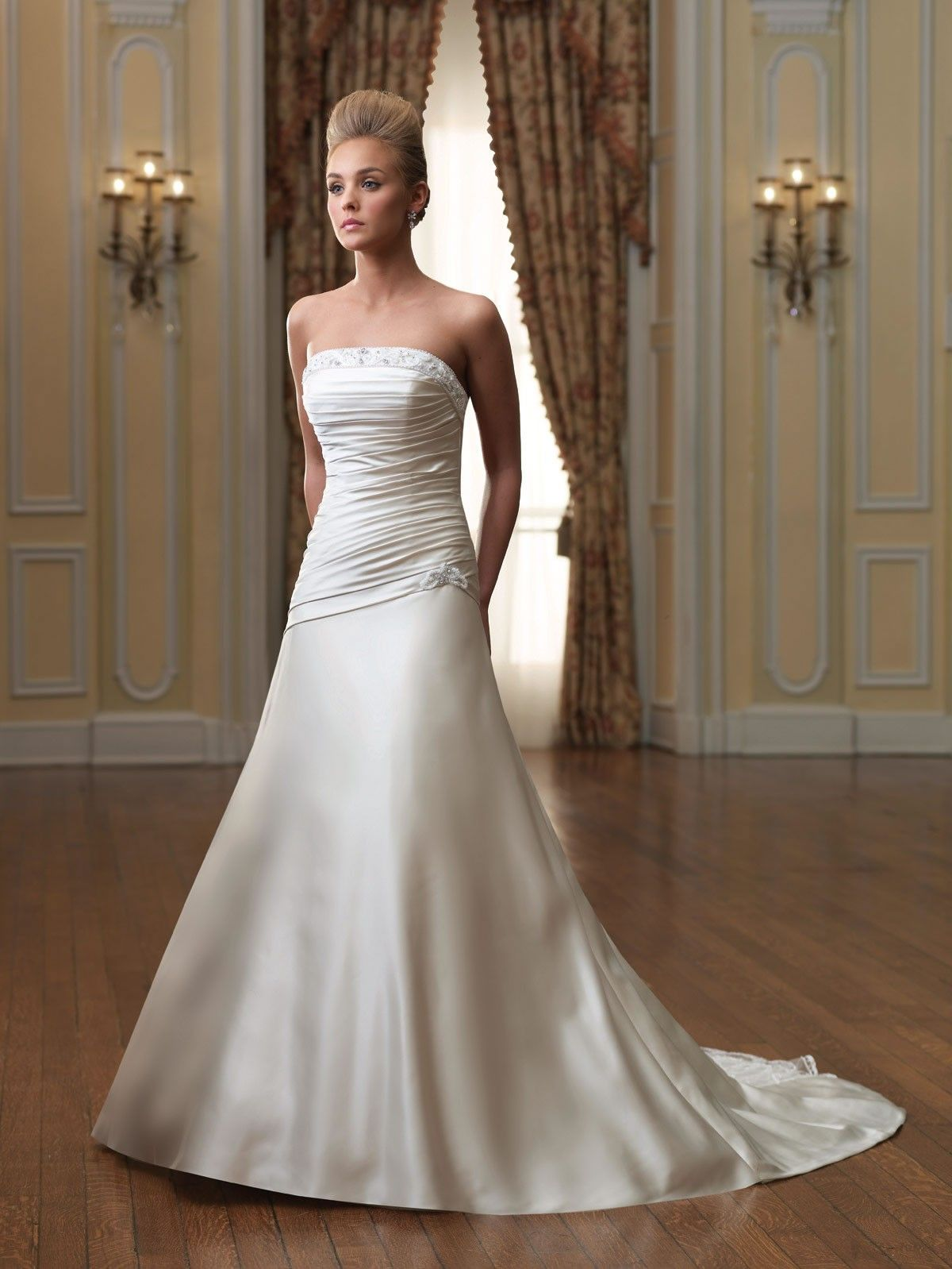 Strapless Wedding Dresses With A Line | Dresscab | Strapless ...