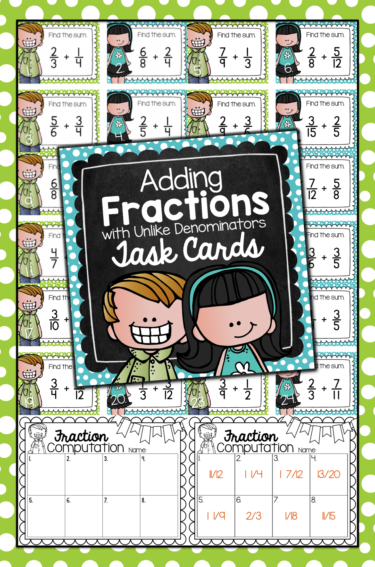 Adding Fractions With Unlike Denominators Task Cards For