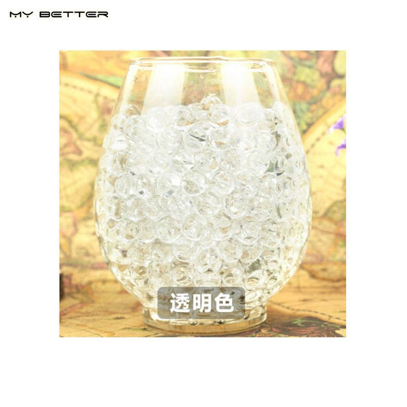 100 pcs Transparent multi colored Water Plant Flower Jelly Crystal Soil Mud Water Pearls Vase Soil Gel Beads Balls Bead