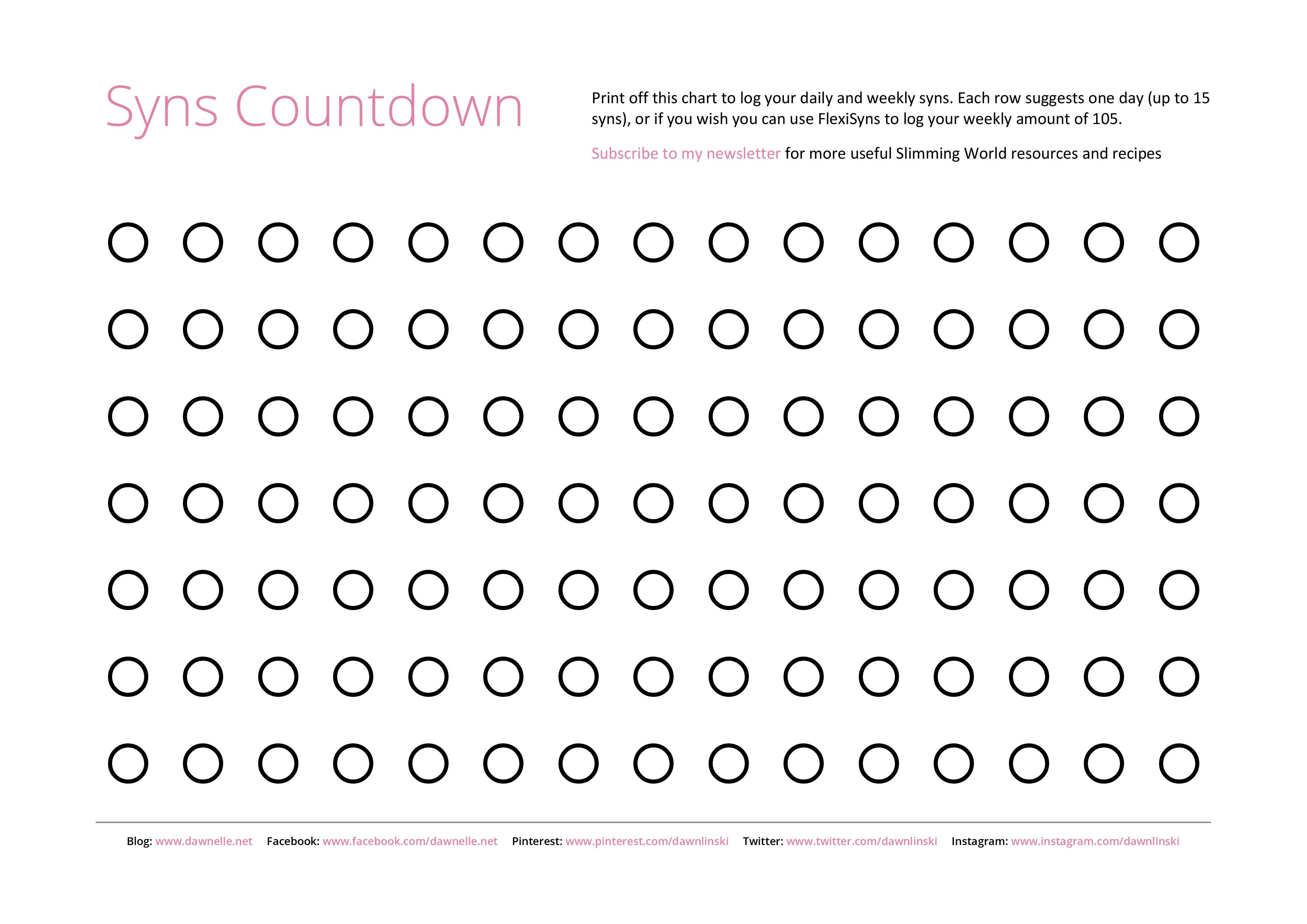 picture regarding Printable Countdown Chart called Cost-free #SlimmingWorld #Printables - Syns Countdown Chart
