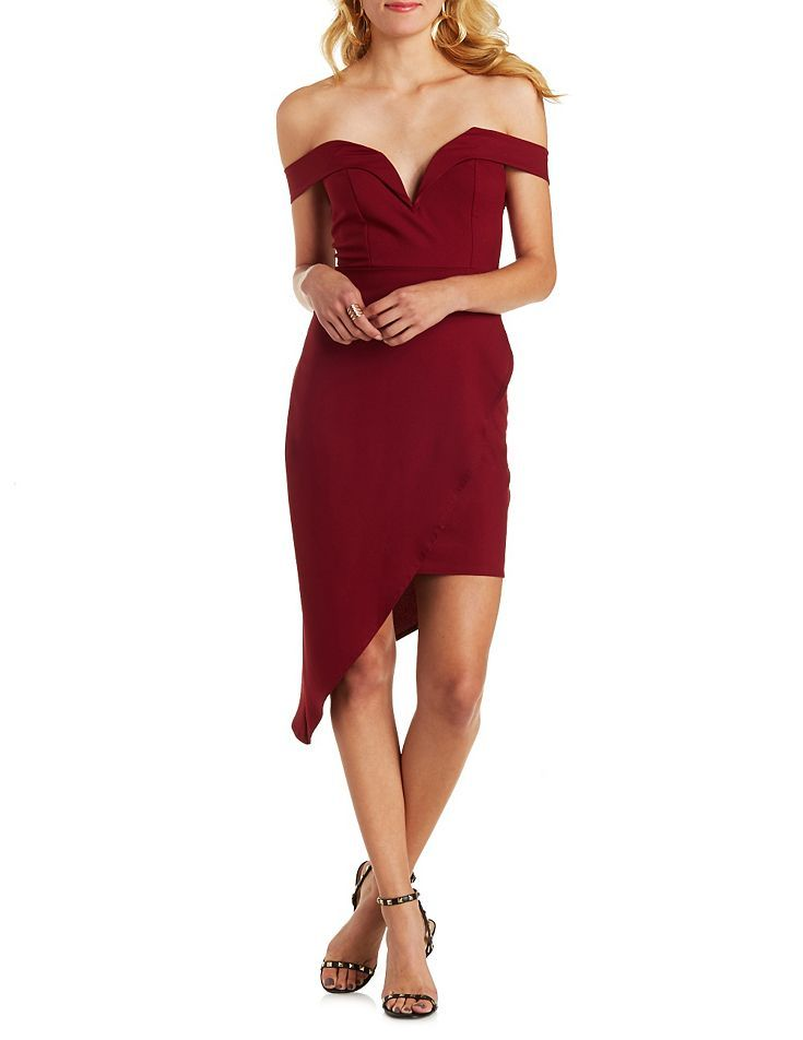 06c91bf6dfc0 Off-the-Shoulder Plunging Asymmetrical Dress - Burgundy
